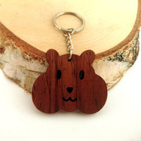 Hamster Wooden Keychain, Walnut Wood, Animal Keychain, Environmental Friendly Green materials