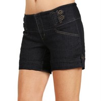 Dark Denim Double Tab Denim Shorts