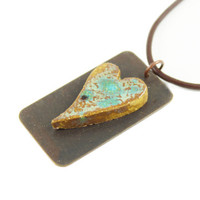 Handmade Ceramic Heart Necklace - Unique Gift - Heart Pendant