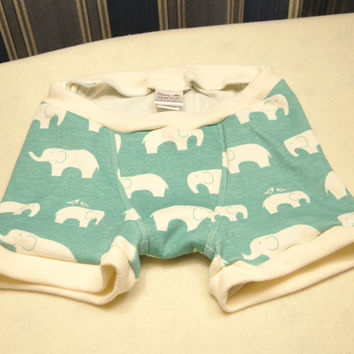 Boys elephants boxer briefs in sizes 1T 2T 4T 6 8 10, cream elephants on blue