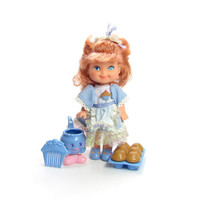 Betty Berry Doll Cherry Merry Muffin Friend 1988 with Blue Dress, Flavor Friend Lil Dip, Comb, Muffins