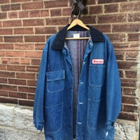Classic Rare Vintage Denim Barn Jean Mens Plaid Blanket Lined Chore Coat Jacket Monsanto Patches