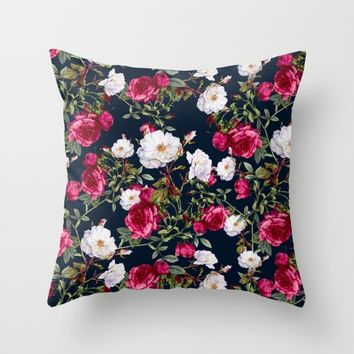 Vintage Roses on Darkblue Throw Pillow by VS Fashion Studio