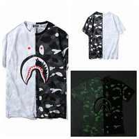 Black & White Summer Bape Night-Light Short Sleeve Stylish Tee[10057983879]