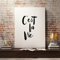 "French quotes Inspirational poster ""C'est la vie"" French art Wall artwork Instant download Motivational poster Typography print Wall decor"