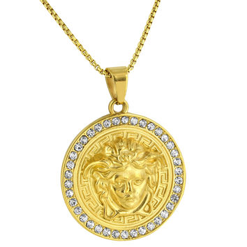 Medusa Face Design Pendant Yellow Gold Over Stainless Steel Free Necklace 24""