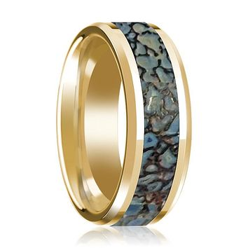 CORYTHOSAURUS  Blue Dino Bone Inlaid 14k Yellow Gold Wedding Band for Men with Bevels - 8MM
