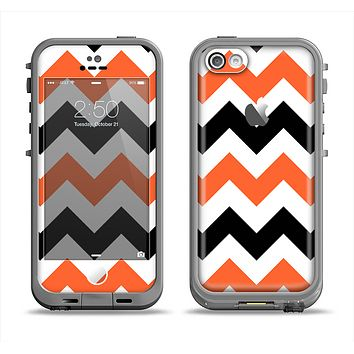 The Orange & Black Chevron Pattern Apple iPhone 5c LifeProof Fre Case Skin Set