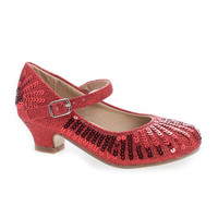 Quincy09 Red Glitter By Sully's, Children's Girl Sparkling Mesh And Sequin Heeled Sandals