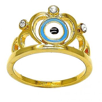 Gold Layered Mult-stone Ring, Crown and Greek Eye Design, with Crystal, Gold Tone