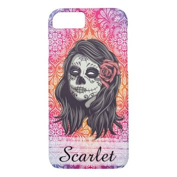 Personalized Rainbow Sugar Skull, Los Muertos iPhone 7 Case
