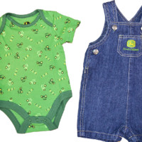 John Deere Newborn Denim 2 Piece Layette Set