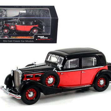 1935 Maybach SW35 Spohn Black-Red Hardtop 1-43 Diecast Car Model by Signature Models