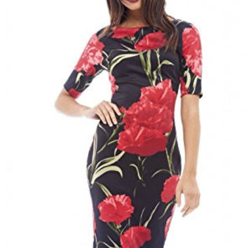 Black 3/4 Sleeve Rose Print Bodycon Midi Dress