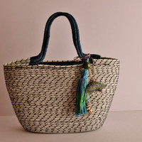 White and Black Basket Bag, Monochrome Basketbag, Summer BohoChic Bag, Handmade Rope Bag