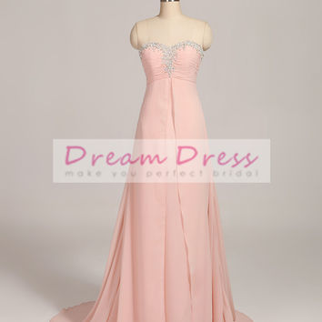 2017 Chiffon Pink/Light Champagne Pleat Beading Pearls Long Bridesmaid Dress Custom Made Dress Vestido De Festa Fe Casamento