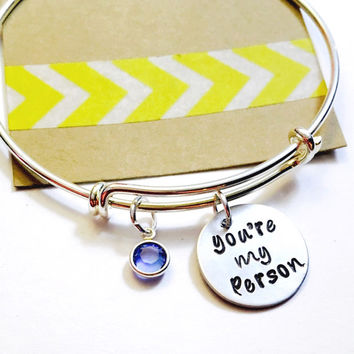 You're My Person, Best Friend Gift, Hand Stamped My Person Bracelet, Adjustable Bracelet