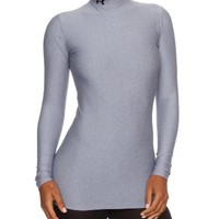 Women's UA ColdGear® Longsleeve Compression Mock Tops by Under Armour Small Medium Gray Heather