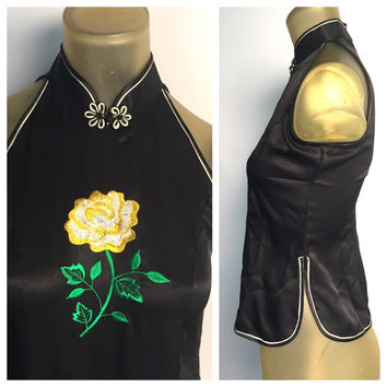 Asian Sleeveless Blouse, Black Satin Top, Embroidered Yellow Rose, Mandarin Collar Knot Button Zip Back Chinese Top Asian Tank Top Vietnam S