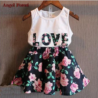 Children's clothing  summer female child letter flower vest short skirt twinset children's clothing