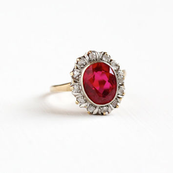 Vintage 10k Yellow & White Gold Created Ruby White Spinel Cluster Ring - Size 6 3/4 Red, Clear Stone Fine Statement Engagement Jewelry