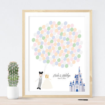 Wedding Guest Book Alternative for Fairy Tale Wedding with Couple Portrait, Cinderella Castle, and Balloons, Unique guest book idea