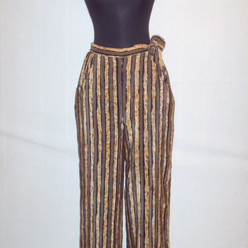 Vintage 1990s Silk Wide Leg Pants Trousers 100% Silk