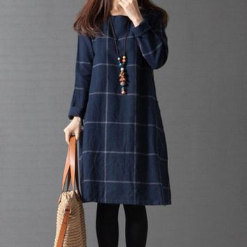 Plus Size Women's Fashion Korean Long Sleeve Plaid Cotton Linen One Piece Dress [4920544388]
