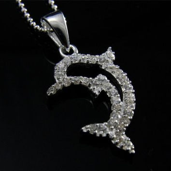 STERLING SILVER 925 CUBIC ZIRCONIA CZ OUTLINE HAWAIIAN DOLPHIN PENDANT