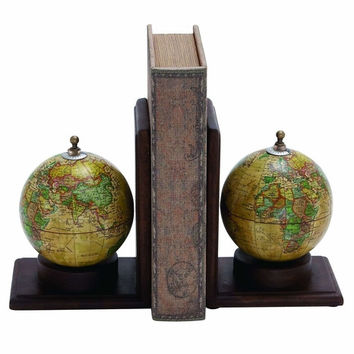 Benzara Planet Earth Wooden and Metal Globe Bookend