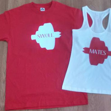 Free Shipping for US SWOLE MATES Matching Couples Tank Tops/Shirts Red and White