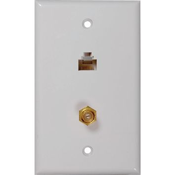 Rca Cat-5e And 6 F & Coaxial Connector Wall Plate