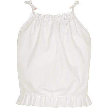 Girls white poplin ruffle tie cami top