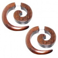 Organic Brown Wood Fake 2G Spiral Plug - 30mm x 28mm - 18G Wire - Sold as a set of two