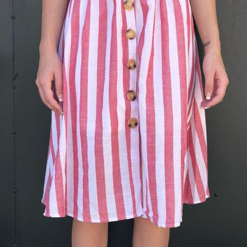 """Candy Striper"" Midi Skirt"