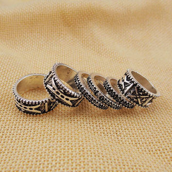 5 PCS Vintage Retro Boho Bohemia Ancient Silver Tibetan Carving Totems Rings Set Lucky Punk Women Jewelry