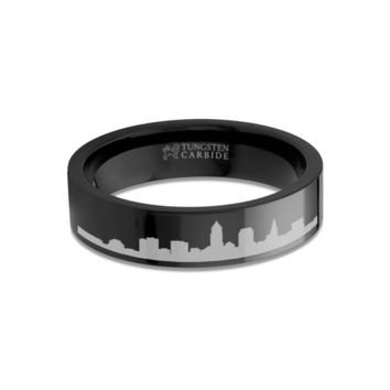 Cleveland City Skyline Cityscape Engraved Black Tungsten Ring