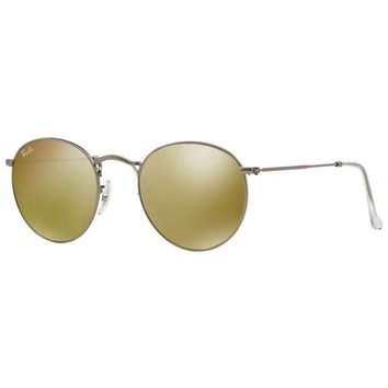 Kalete Ray-Ban RB3447 029/93 Round Metal Gold Flash Lens Gunmetal Frame Sunglasses