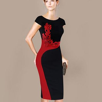 Womens Dress Plus Size Elegant Vintage Embroidered Contrast Slim Casual Party Pencil Sheath Embroidery Dress 215