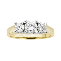 18k Gold Two Tone 1-ct. T.W. Round-Cut IGL Certified Colorless Diamond 3-Stone Ring (White)