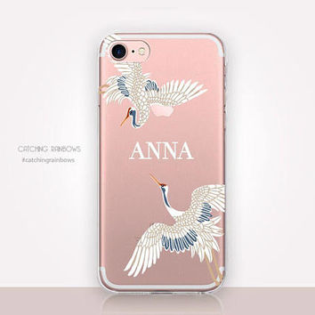 Personalised Crane Bird Clear Phone Case-Clear Case-Transparent iPhone 7-Clear iPhone 7 Plus-Gel Case-iPhone SE