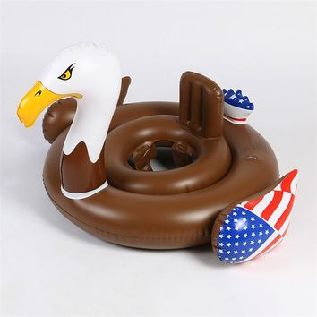 83cm Inflatable Eagle Pool Float for Children Summer Eagle Seat Float Inflatable Baby Swimming Rings Circle Air Mattress Fun Toy