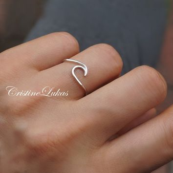 Dainty Wave Ring - Ocean Tide Current Ring  - Stacking Ring in Sterling Silver, Yellow Gold, Rose Gold or White Gold