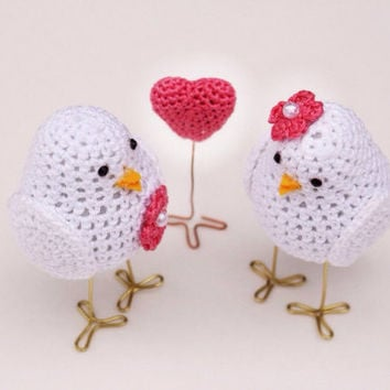 Wedding Cake Decoration  Birds, Birds Wedding Cake Topper, Bride and Groom Cake Topper, Crochet Cake Topper, Birds cake topper and a heart
