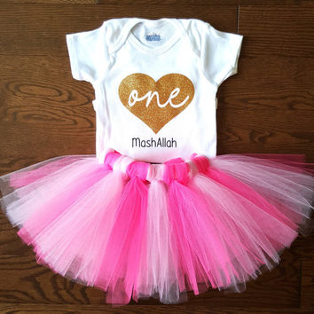 Pink Tutu Dress, Glitter Heart One Onesuit, First birthday outfit, Cake smash photoshoot, baby girl clothes, Tulle skirt, Personalized Onesuit