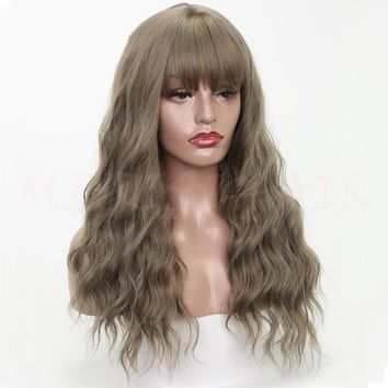 """26"""" Long Grey Brown Womens Wigs with Bangs Synthetic Wavy Wigs"""