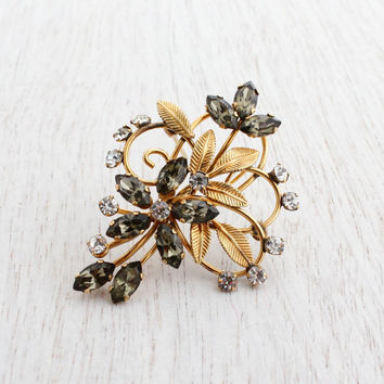Vintage Gold Filled Rhinestone Flower Brooch - 1950s Signed Van Dell Jewelry Pin / Clear & Gray Glass