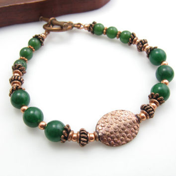 Green Adventurine Gemstone Copper Bracelet Handmade Green Gemstone Jewelry BooBeads Gifts under 25 Unisex Copper Stone Bracelet