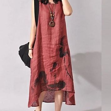 Sleeveless Loose Summer Casual Lotus Print Linen Dress