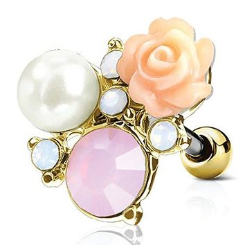 BodyJ4You Tragus Ball Piercing Rose Flower CZ Stud Earring 16G Goldtone Surgical Steel Helix Ear Barbell